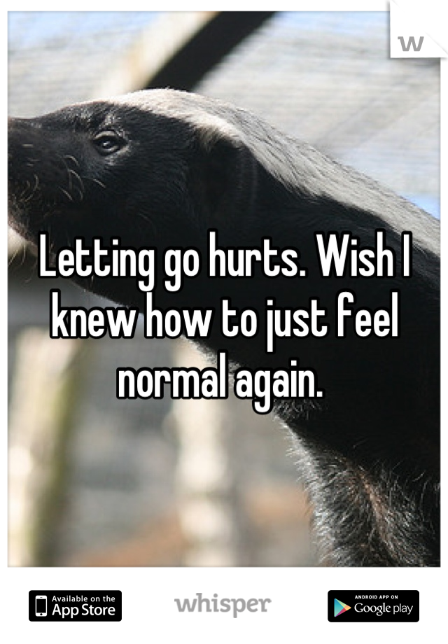 Letting go hurts. Wish I knew how to just feel normal again.