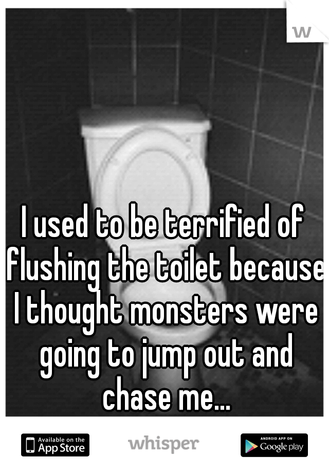 I used to be terrified of flushing the toilet because I thought monsters were going to jump out and chase me...