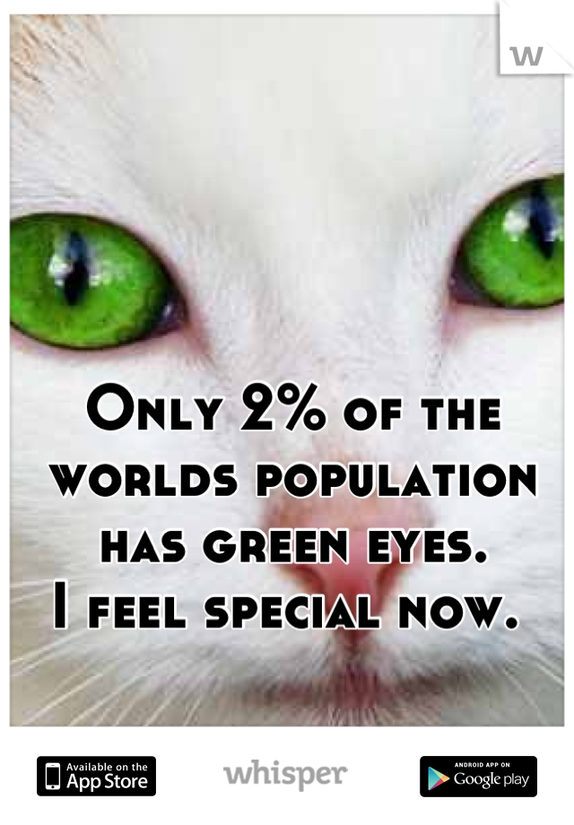 Only 2% of the worlds population has green eyes.  I feel special now.