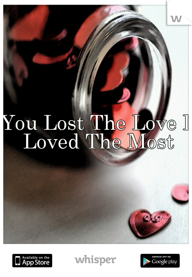 You Lost The Love I Loved The Most