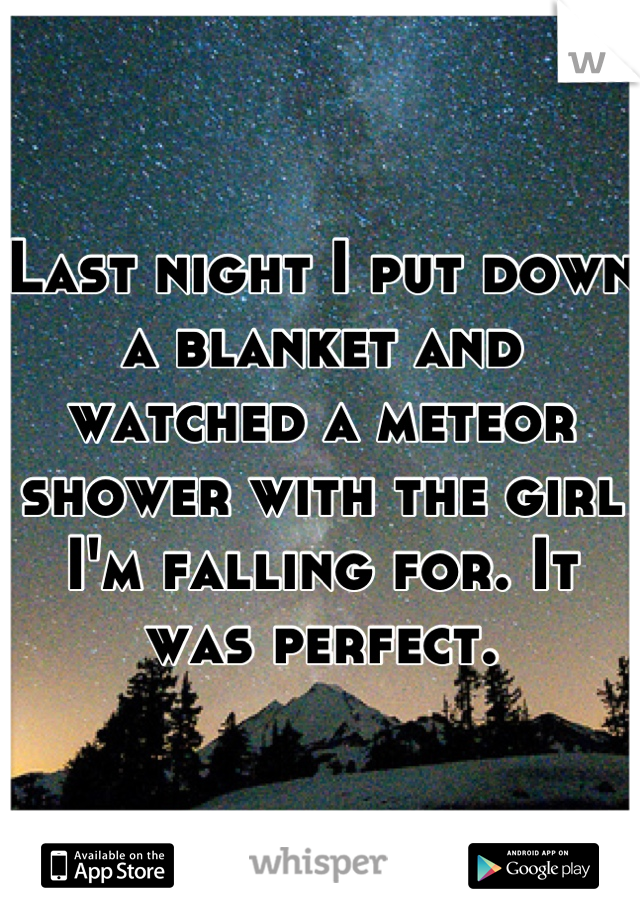 Last night I put down a blanket and watched a meteor shower with the girl I'm falling for. It was perfect.