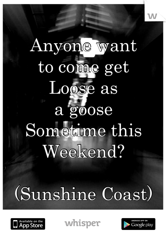 Anyone want to come get Loose as a goose  Sometime this  Weekend?  (Sunshine Coast)