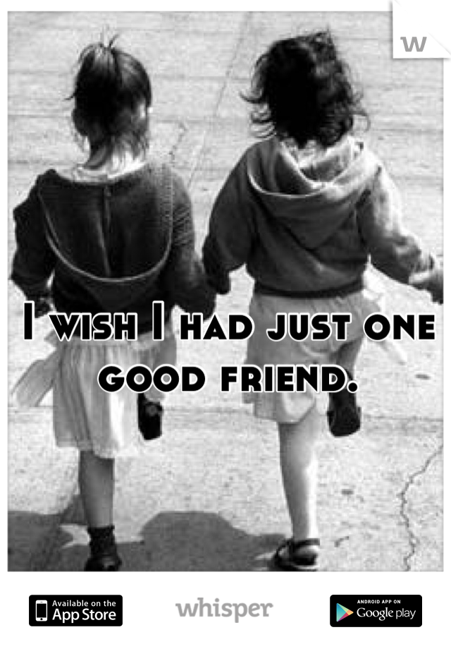 I wish I had just one good friend.