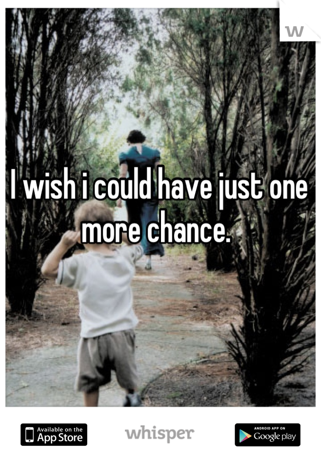 I wish i could have just one more chance.