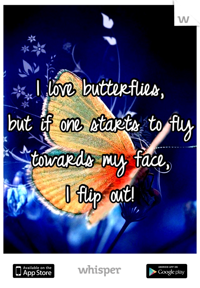 I love butterflies,  but if one starts to fly towards my face,  I flip out!