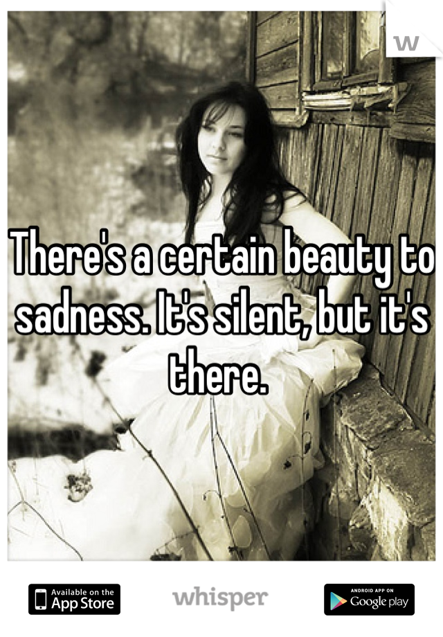 There's a certain beauty to sadness. It's silent, but it's there.