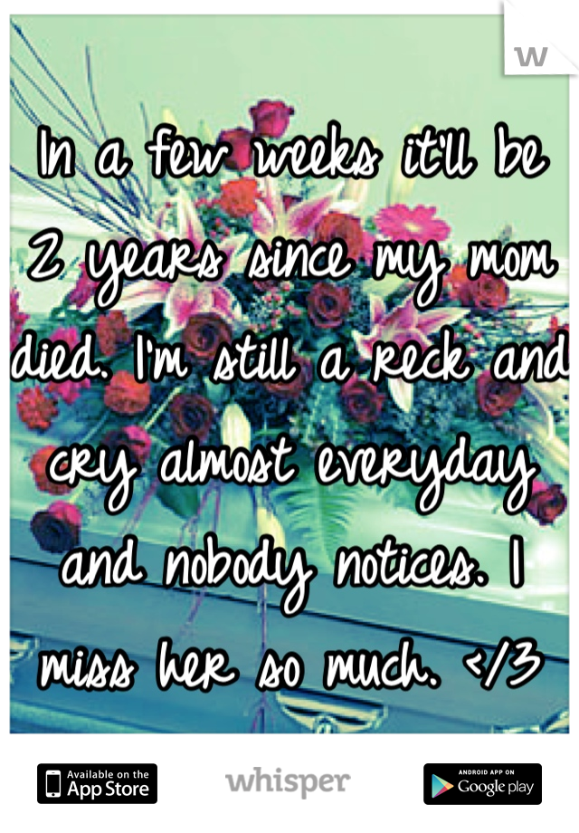 In a few weeks it'll be 2 years since my mom died. I'm still a reck and cry almost everyday and nobody notices. I miss her so much. </3