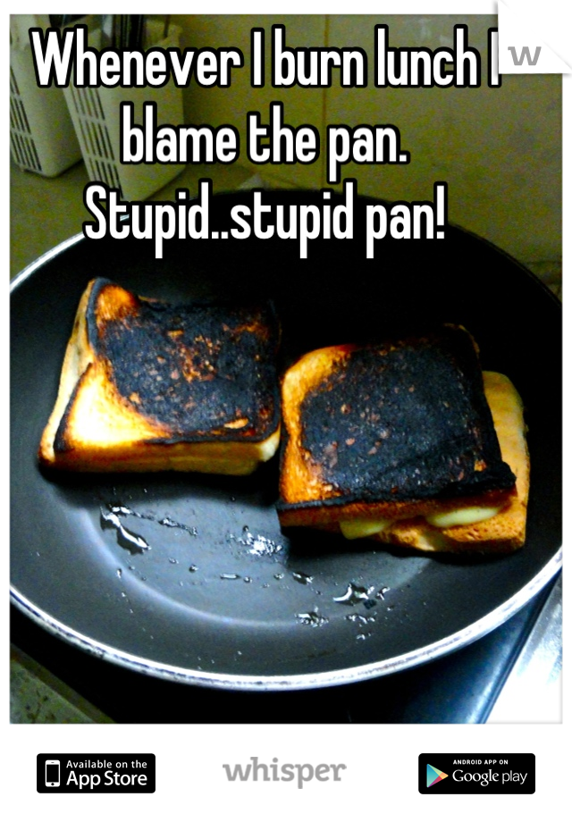 Whenever I burn lunch I blame the pan. Stupid..stupid pan!
