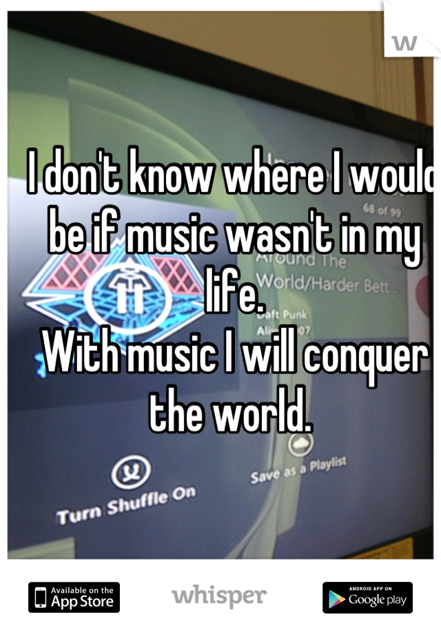 I don't know where I would be if music wasn't in my life.  With music I will conquer the world.