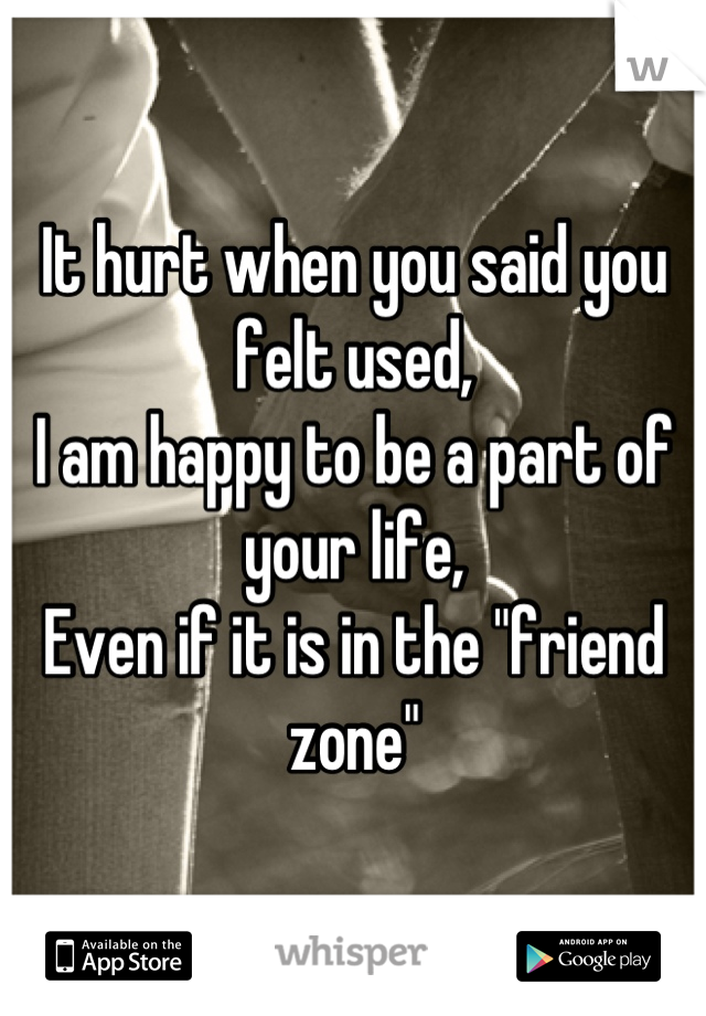 """It hurt when you said you felt used, I am happy to be a part of your life, Even if it is in the """"friend zone"""""""
