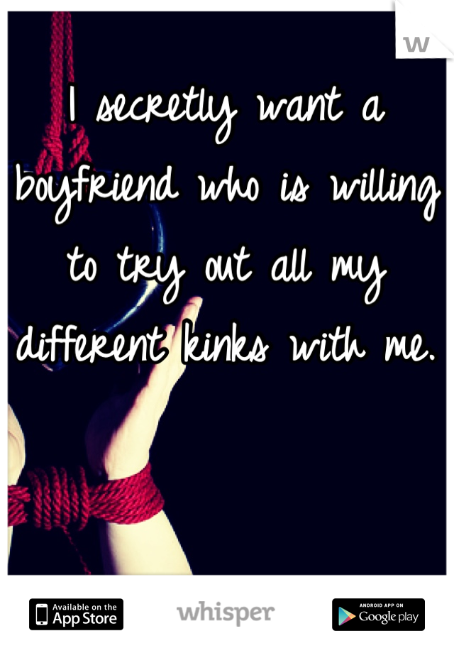 I secretly want a boyfriend who is willing to try out all my different kinks with me.