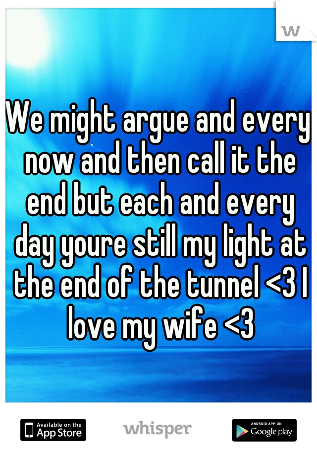 We might argue and every now and then call it the end but each and every day youre still my light at the end of the tunnel <3 I love my wife <3