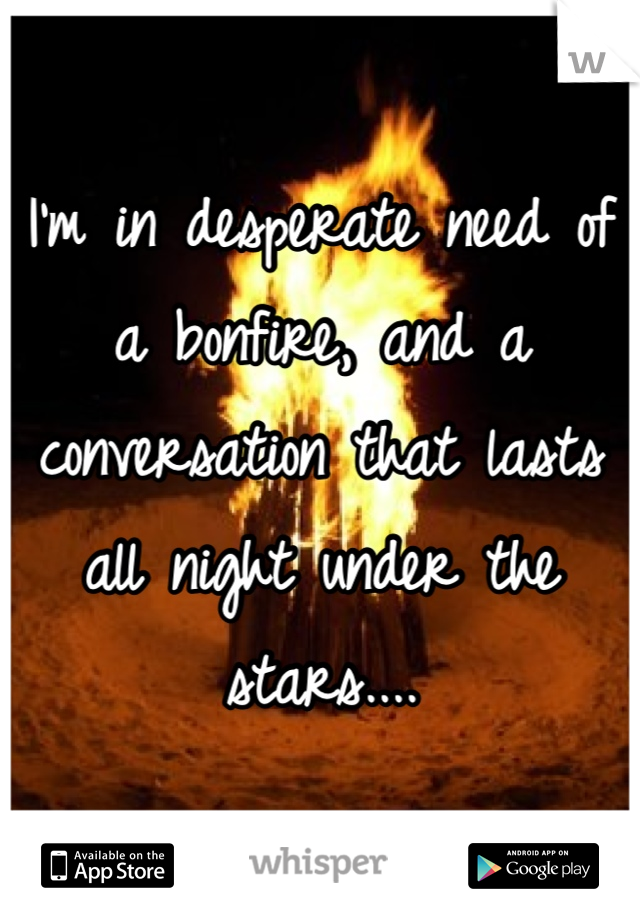 I'm in desperate need of a bonfire, and a conversation that lasts all night under the stars....