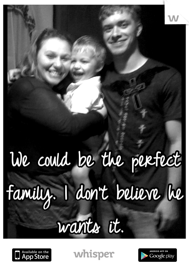 We could be the perfect family. I don't believe he wants it.