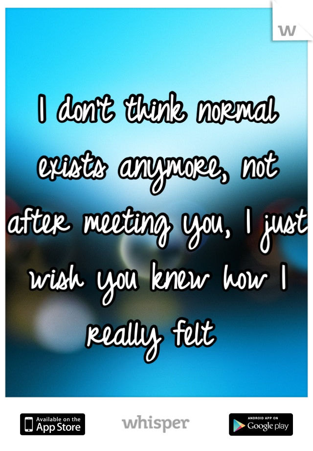 I don't think normal exists anymore, not after meeting you, I just wish you knew how I really felt