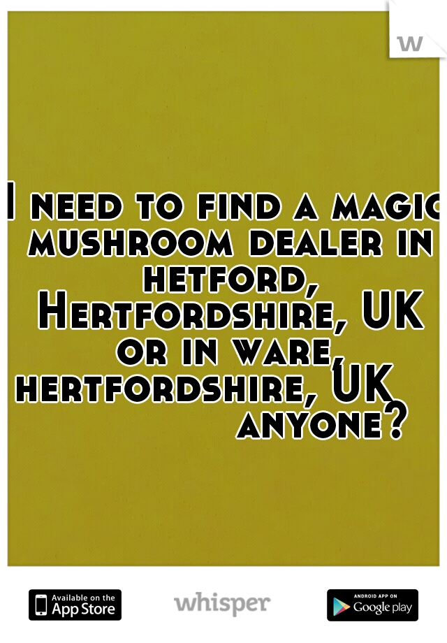 I need to find a magic mushroom dealer in hetford, Hertfordshire, UK or in ware, hertfordshire, UK                   anyone?