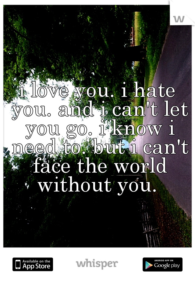 i love you. i hate you. and i can't let you go. i know i need to. but i can't face the world without you.