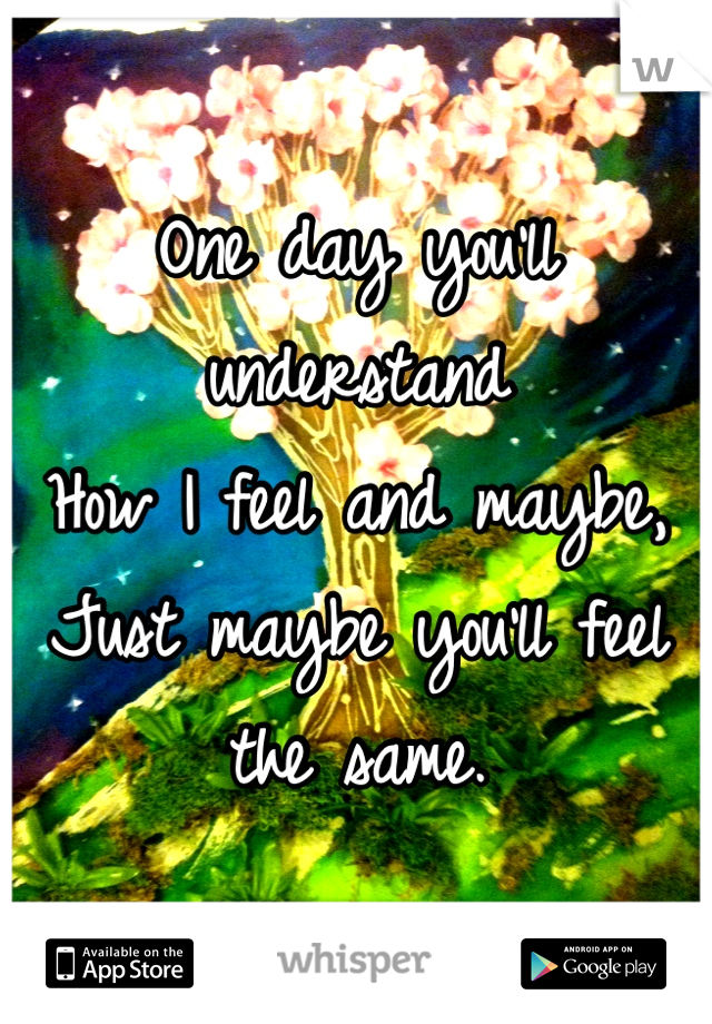 One day you'll understand  How I feel and maybe, Just maybe you'll feel the same.