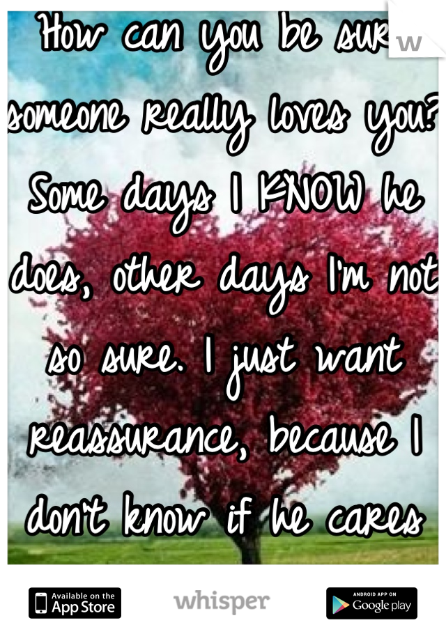 How can you be sure someone really loves you? Some days I KNOW he does, other days I'm not so sure. I just want reassurance, because I don't know if he cares like I do. :(