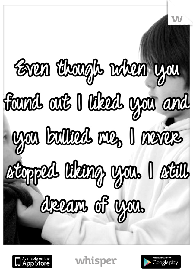 Even though when you found out I liked you and you bullied me, I never stopped liking you. I still dream of you.