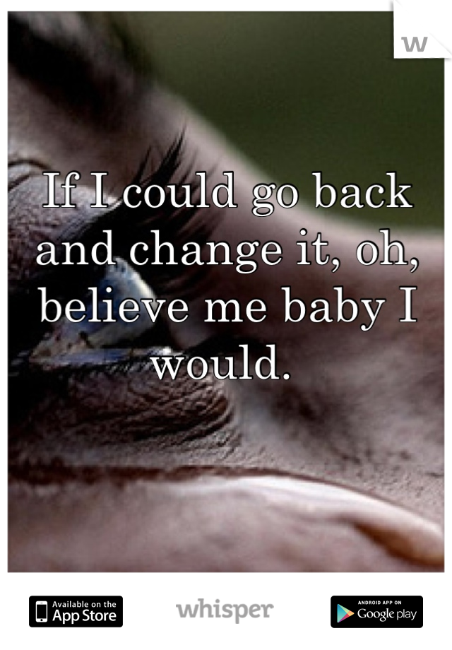 If I could go back and change it, oh, believe me baby I would.