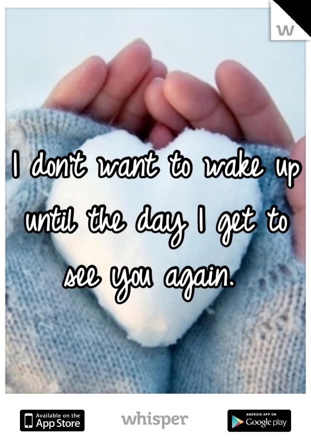 I don't want to wake up until the day I get to see you again.
