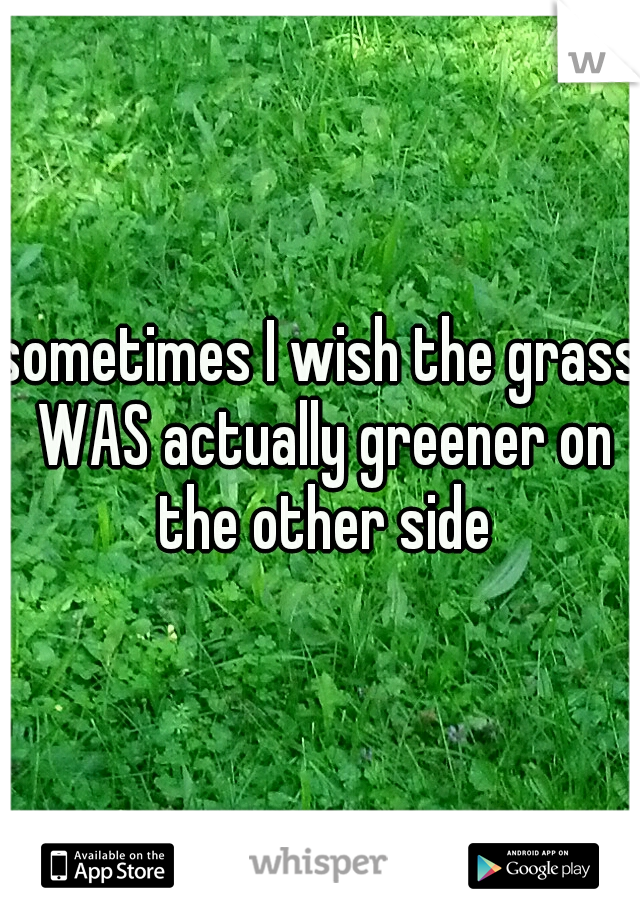 sometimes I wish the grass WAS actually greener on the other side