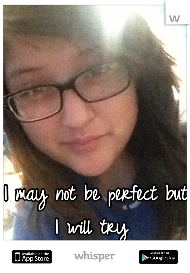 I may not be perfect but I will try