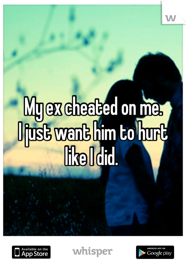 My ex cheated on me.  I just want him to hurt  like I did.