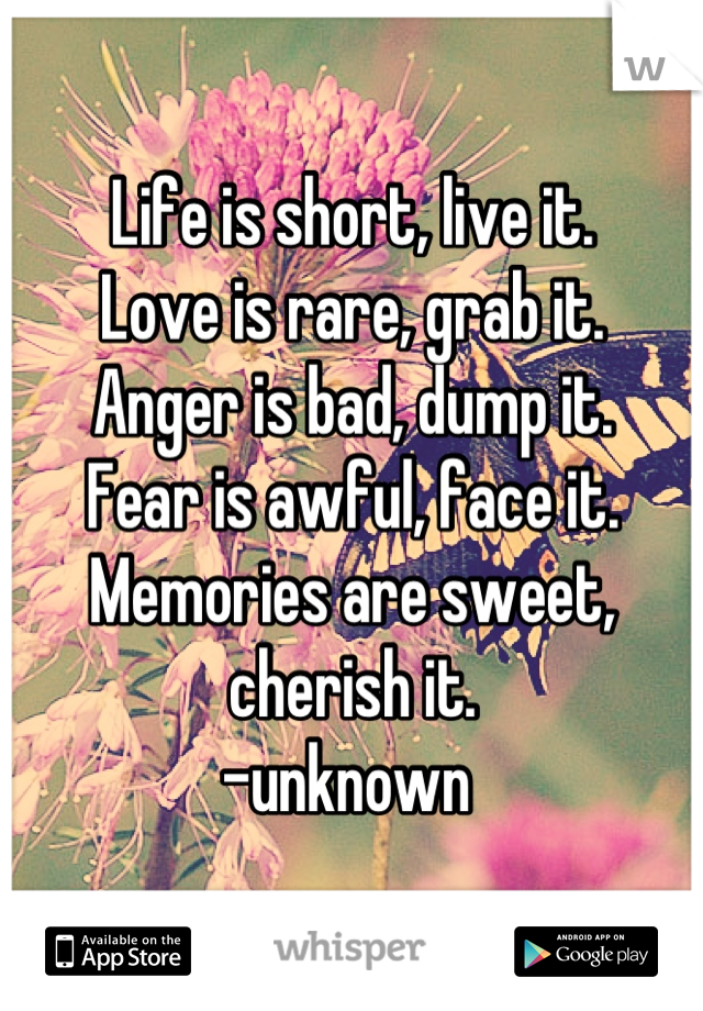 Life is short, live it.  Love is rare, grab it.  Anger is bad, dump it.  Fear is awful, face it.  Memories are sweet, cherish it. -unknown