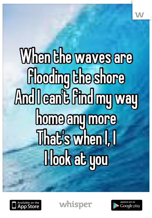 When the waves are flooding the shore And I can't find my way home any more That's when I, I I look at you