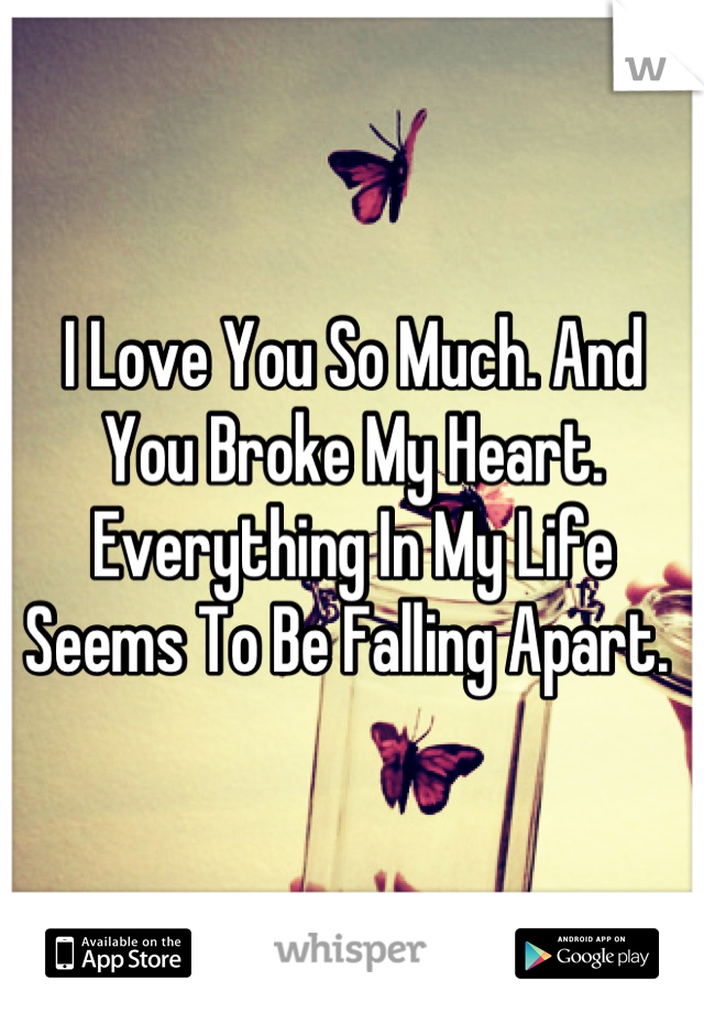 I Love You So Much. And You Broke My Heart. Everything In My Life Seems To Be Falling Apart.