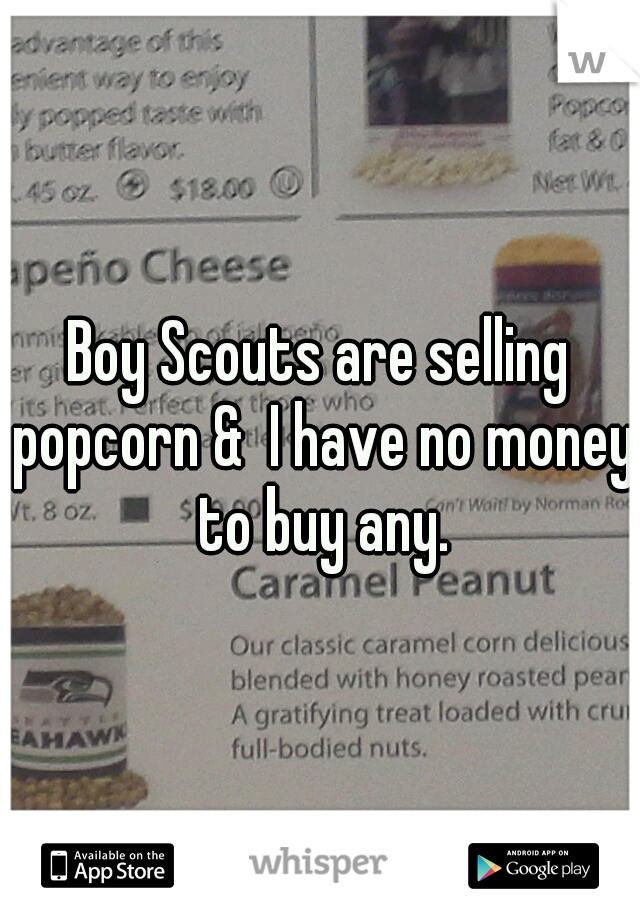 Boy Scouts are selling popcorn &  I have no money to buy any.