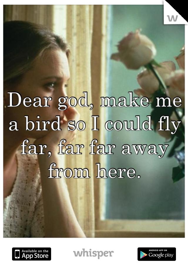 Dear god, make me a bird so I could fly far, far far away from here.