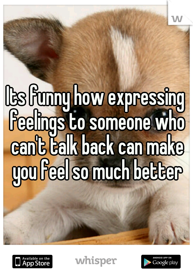 Its funny how expressing feelings to someone who can't talk back can make you feel so much better