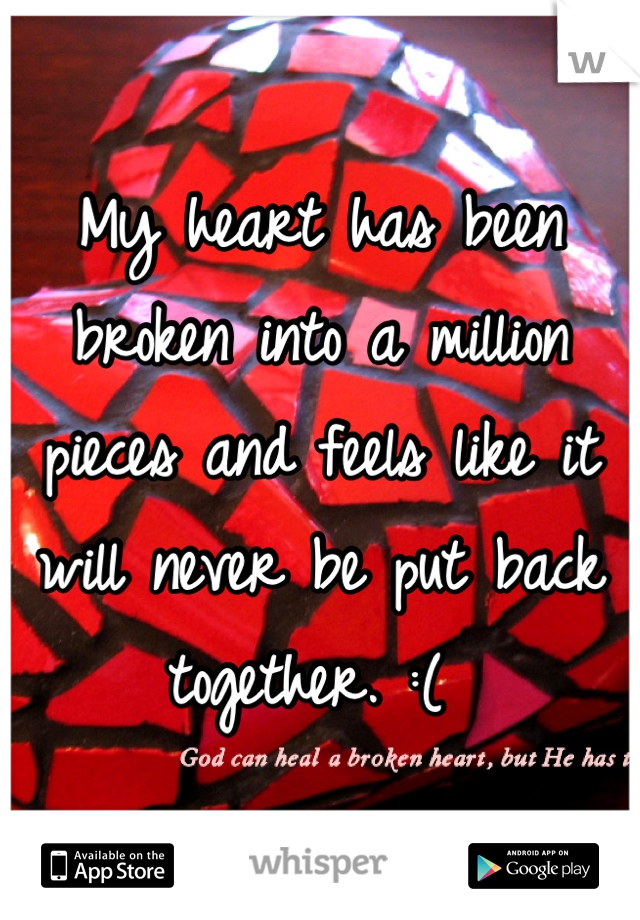 My heart has been broken into a million pieces and feels like it will never be put back together. :(