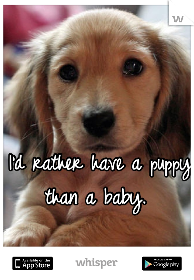 I'd rather have a puppy than a baby.