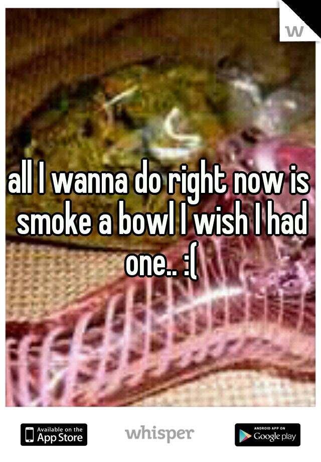 all I wanna do right now is smoke a bowl I wish I had one.. :(