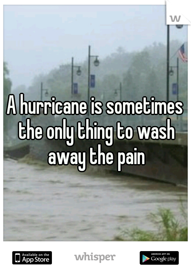 A hurricane is sometimes the only thing to wash away the pain