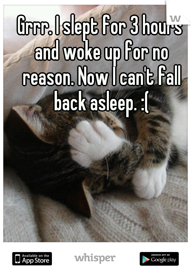 Grrr. I slept for 3 hours and woke up for no reason. Now I can't fall back asleep. :(