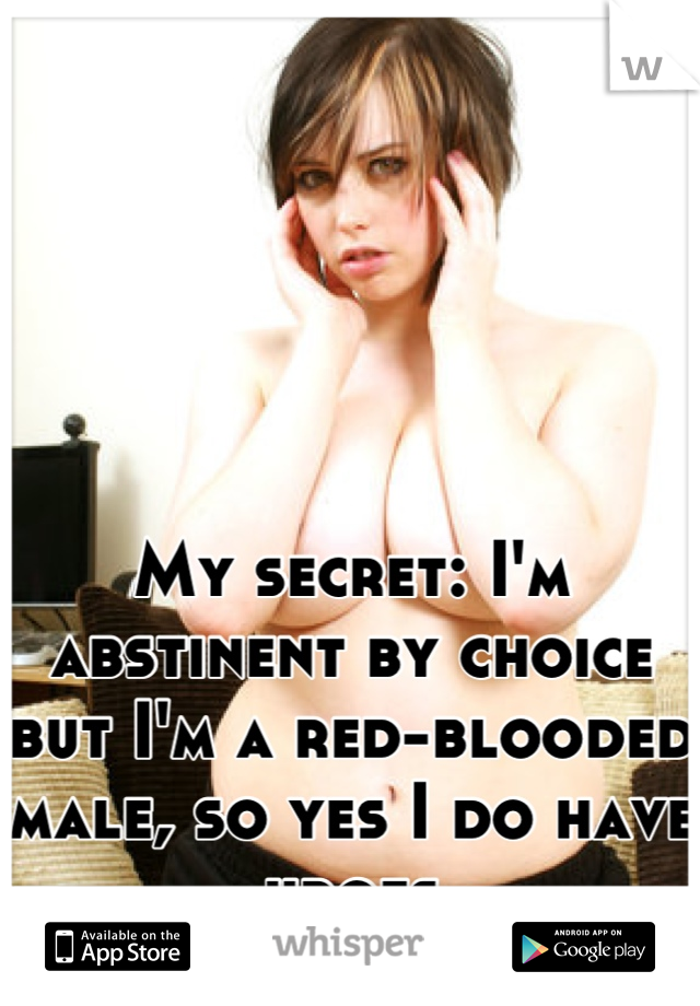 My secret: I'm abstinent by choice but I'm a red-blooded male, so yes I do have urges