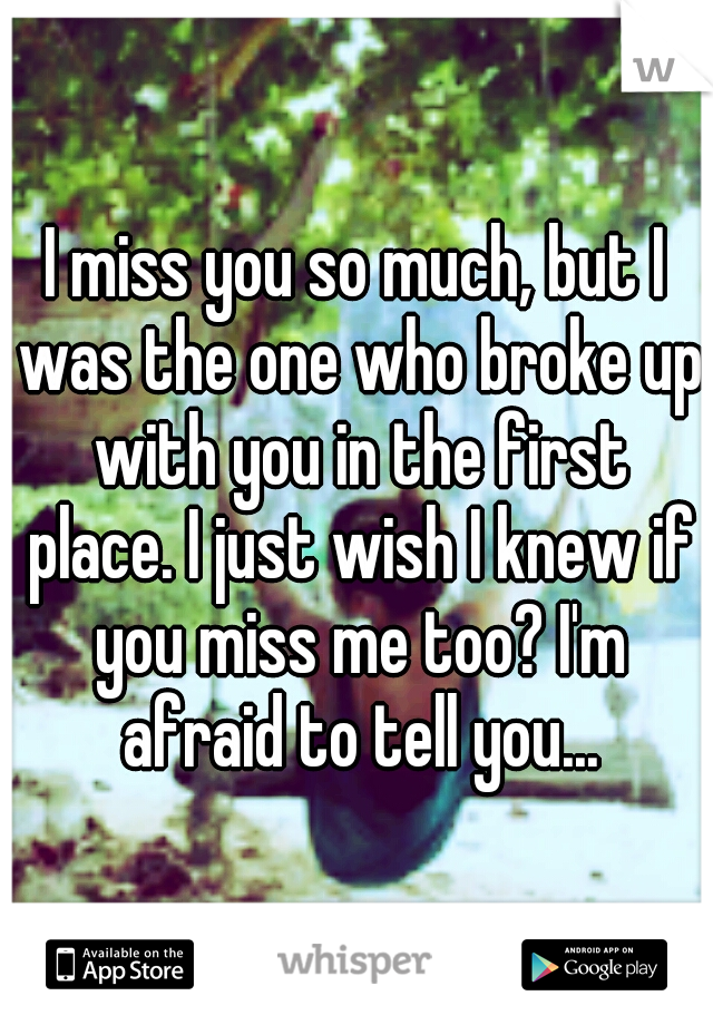 I miss you so much, but I was the one who broke up with you in the first place. I just wish I knew if you miss me too? I'm afraid to tell you...
