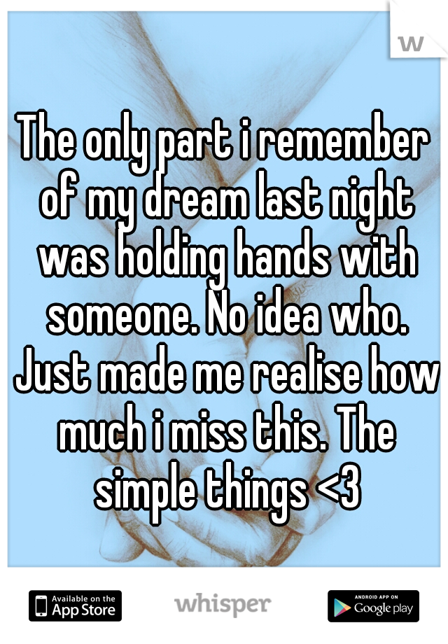 The only part i remember of my dream last night was holding hands with someone. No idea who. Just made me realise how much i miss this. The simple things <3