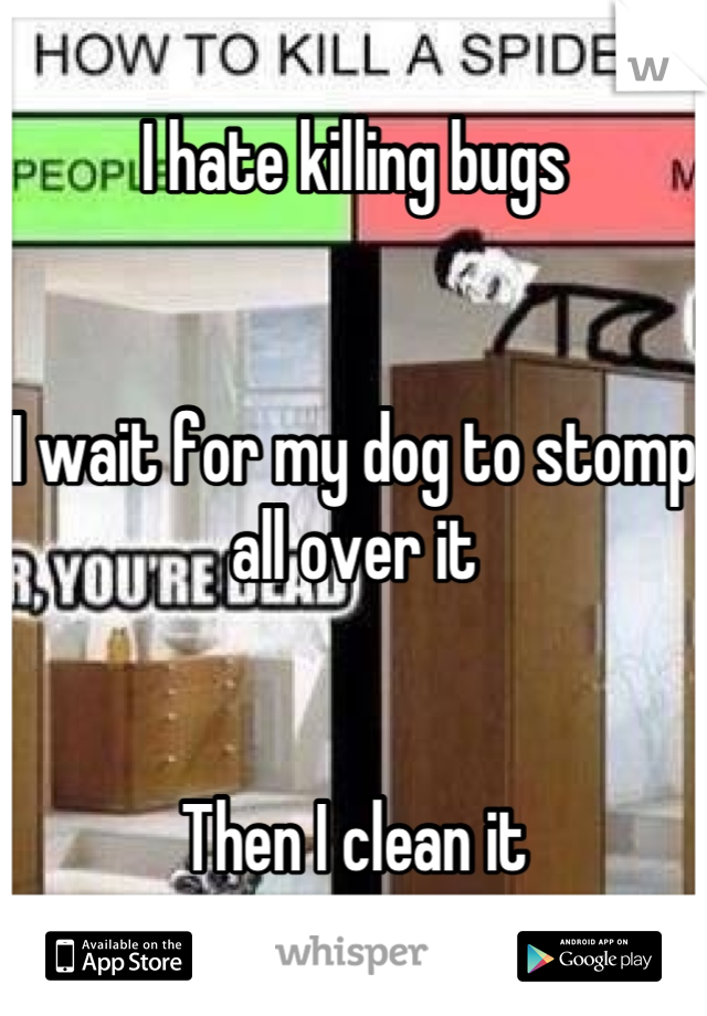I hate killing bugs   I wait for my dog to stomp all over it   Then I clean it