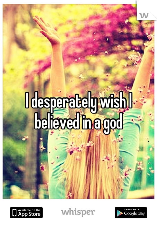 I desperately wish I believed in a god