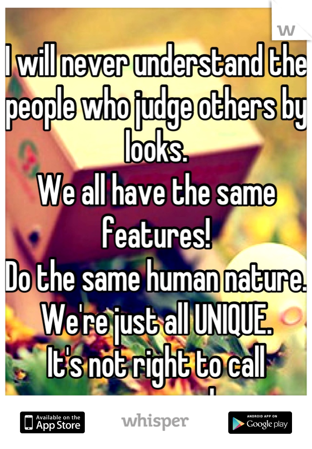 I will never understand the people who judge others by looks. We all have the same features! Do the same human nature. We're just all UNIQUE. It's not right to call someone ugly.
