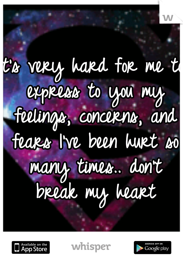 It's very hard for me to express to you my feelings, concerns, and fears I've been hurt so many times.. don't break my heart