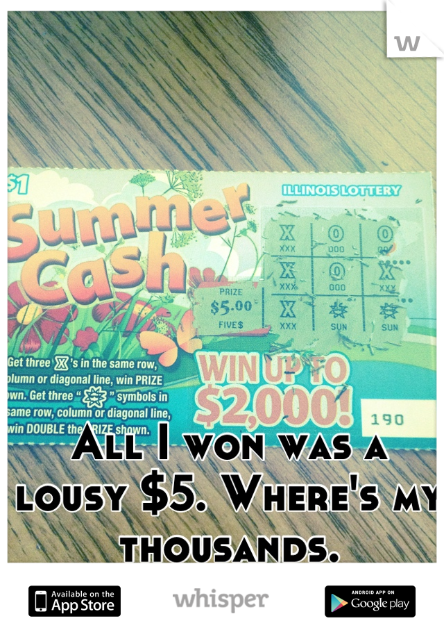 All I won was a lousy $5. Where's my thousands. #greedybitch