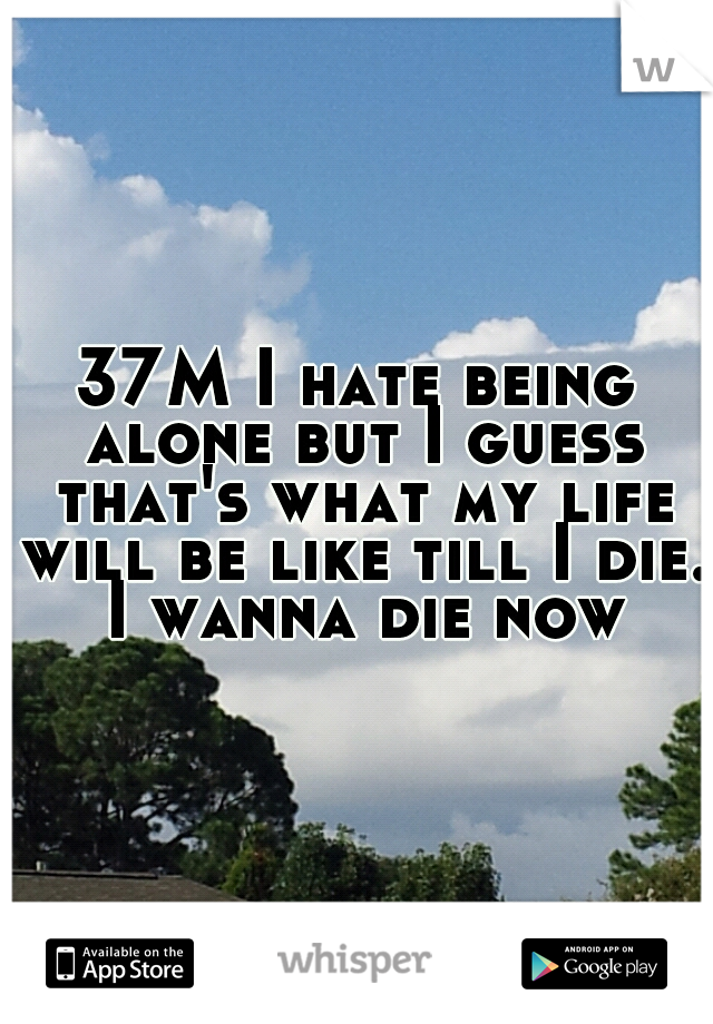 37M I hate being alone but I guess that's what my life will be like till I die. I wanna die now