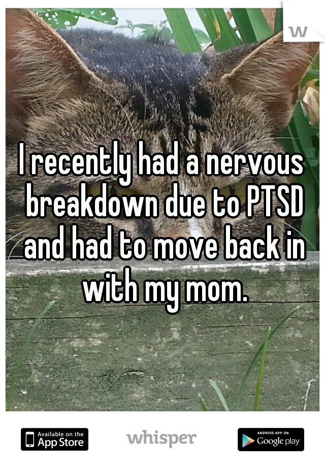 I recently had a nervous breakdown due to PTSD and had to move back in with my mom.